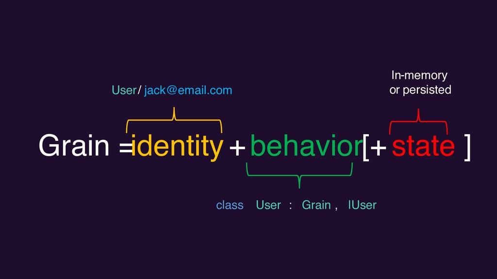 Grain = identity +behavior[+ state ] User / jac...