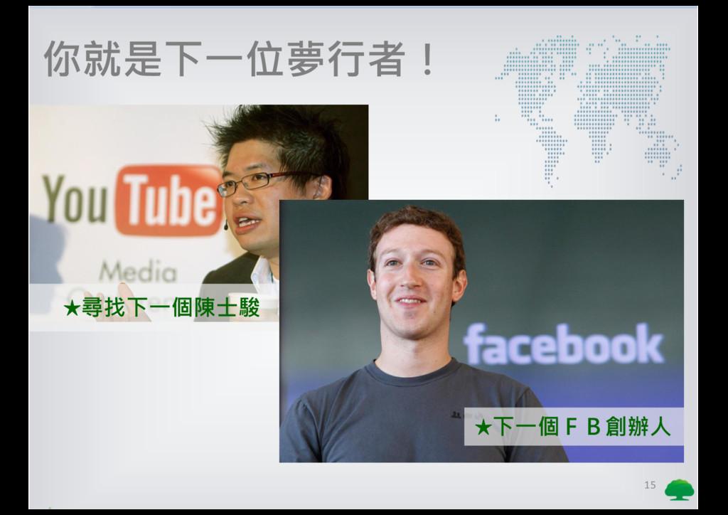 15 你就是下一位夢行者! ★尋找下一個陳士駿 ★下一個FB創辦人