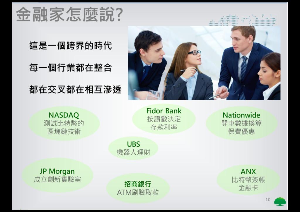 10 金融家怎麼說? 這是一個跨界的時代 每一個行業都在整合 都在交叉都在相互滲透 Fidor...