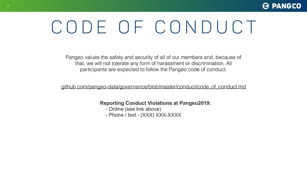 c o d e o f c o n d u c t !7 Pangeo values the ...