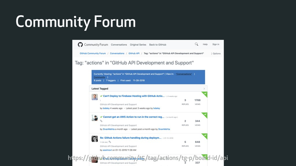 Community Forum https://github.community/t5/tag...