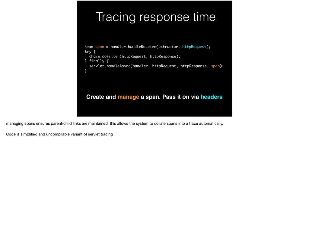 Tracing response time Create and manage a span....