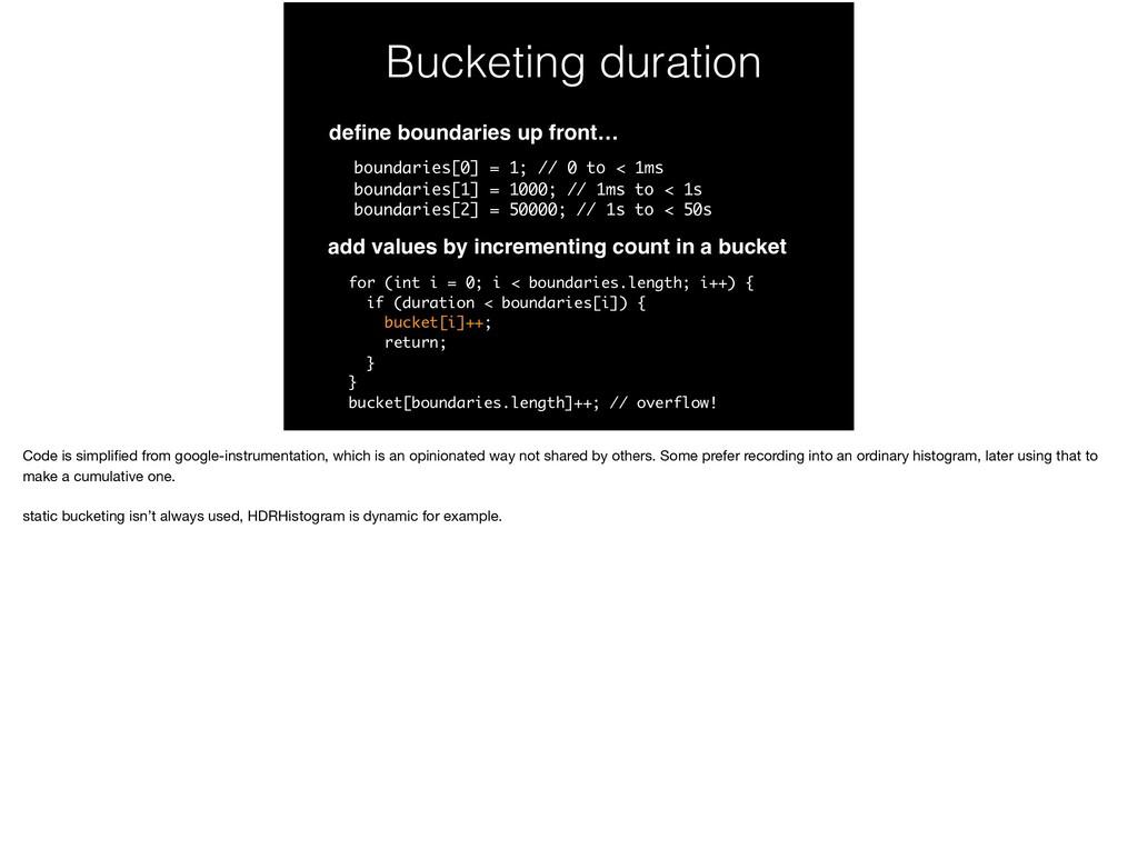 Bucketing duration define boundaries up front… b...