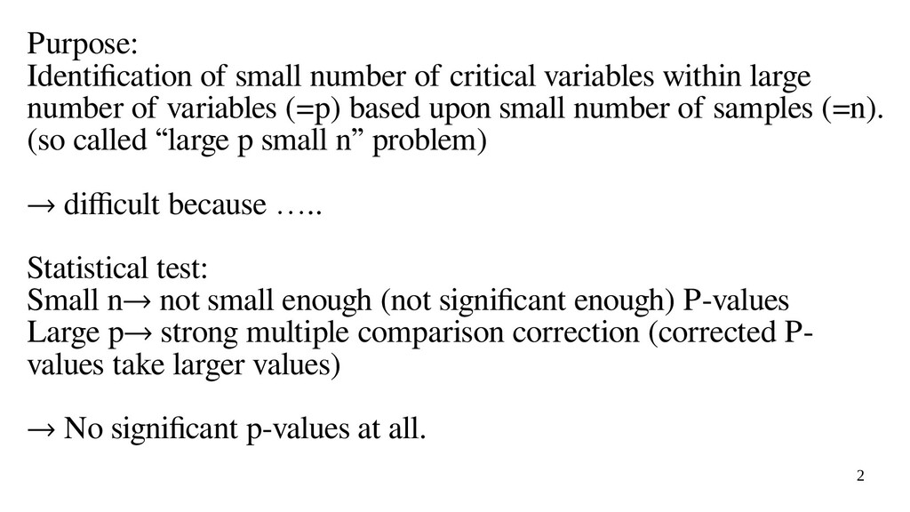 2 Purpose: Identification of small number of cr...