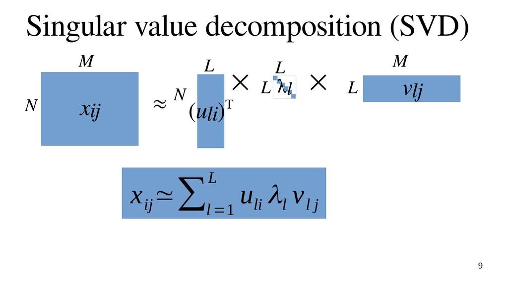 9 Singular value decomposition (SVD) xij N M (u...
