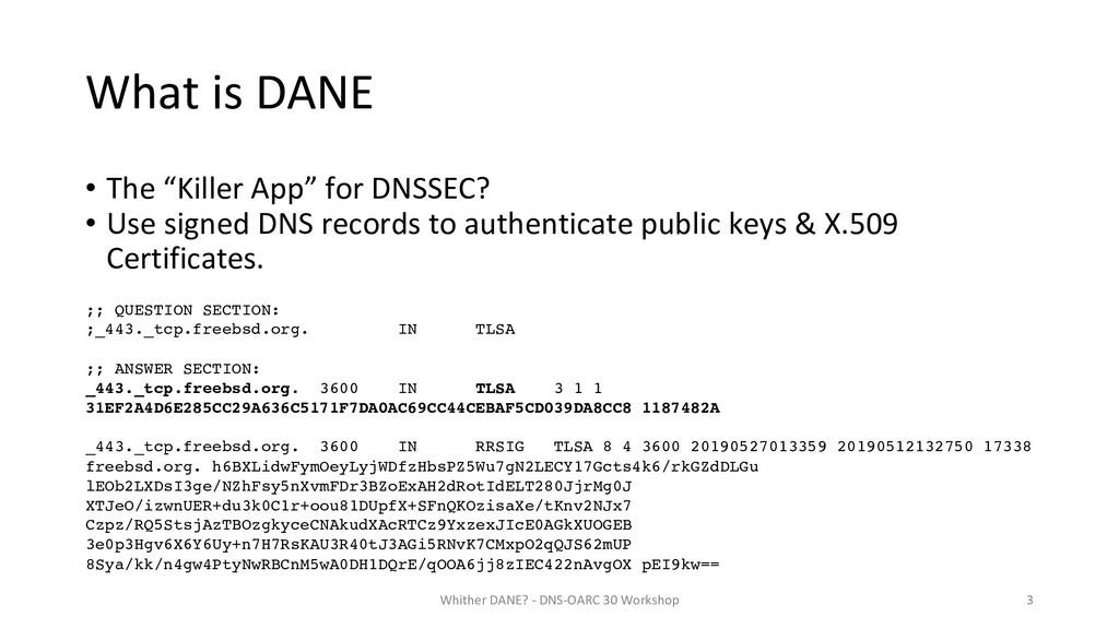 """What is DANE • The """"Killer App"""" for DNSSEC? • U..."""