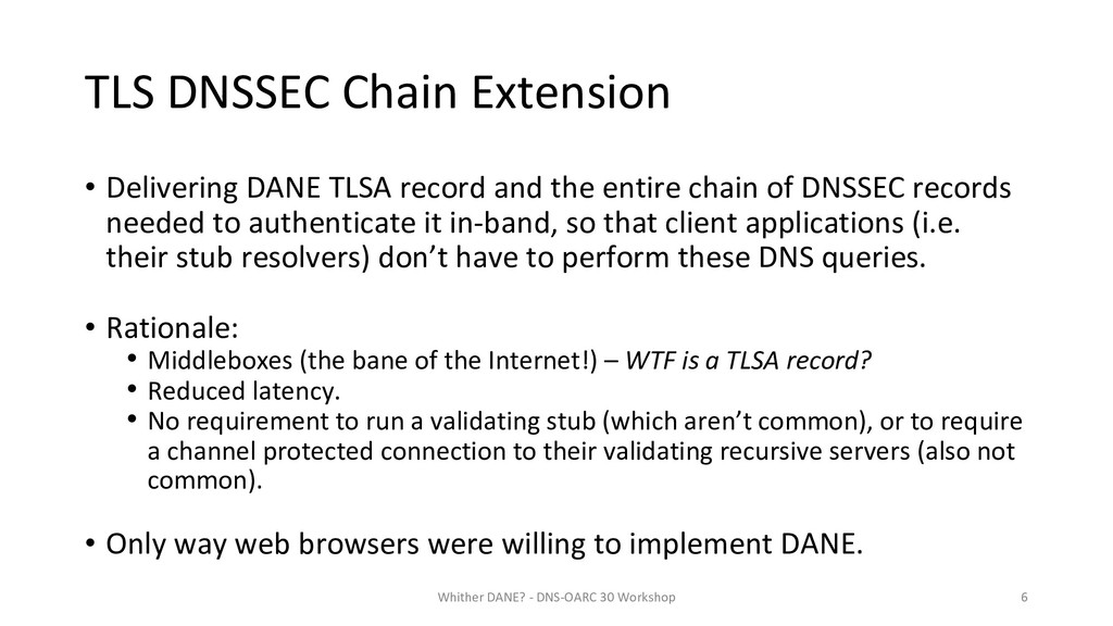 TLS DNSSEC Chain Extension • Delivering DANE TL...