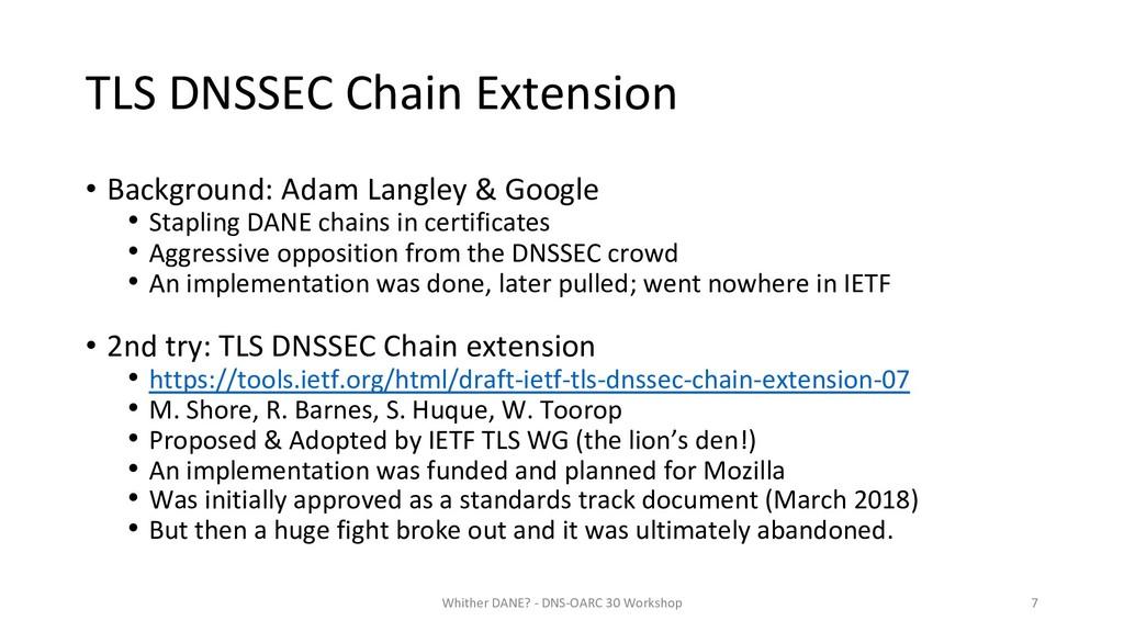 TLS DNSSEC Chain Extension • Background: Adam L...