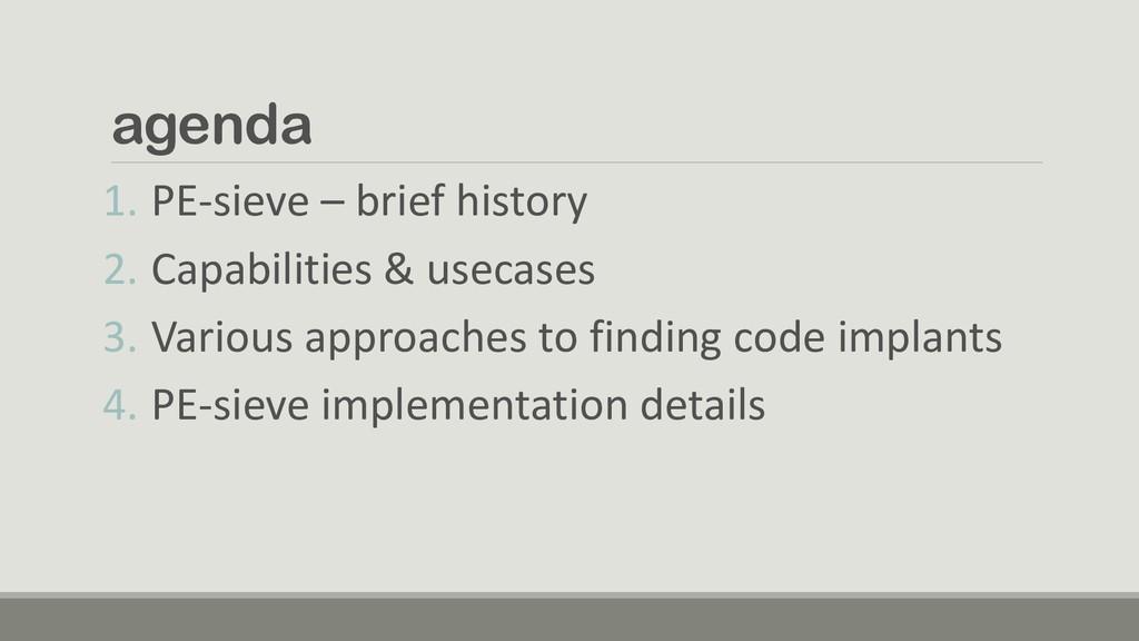 agenda 1. PE-sieve – brief history 2. Capabilit...