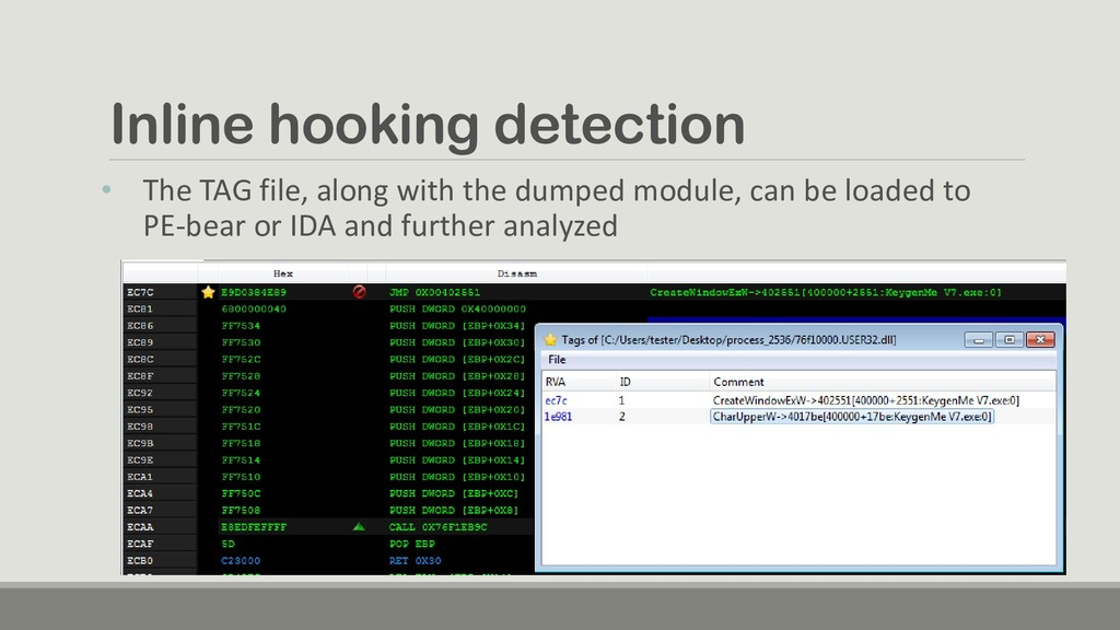 Inline hooking detection • The TAG file, along ...