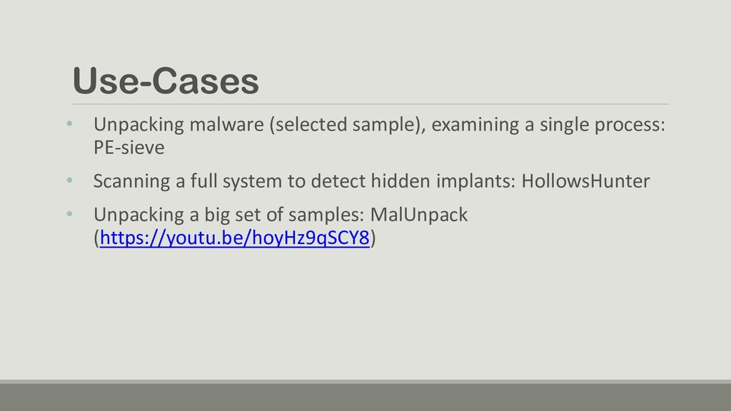 Use-Cases • Unpacking malware (selected sample)...