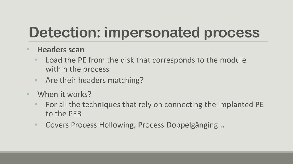 Detection: impersonated process • Headers scan ...