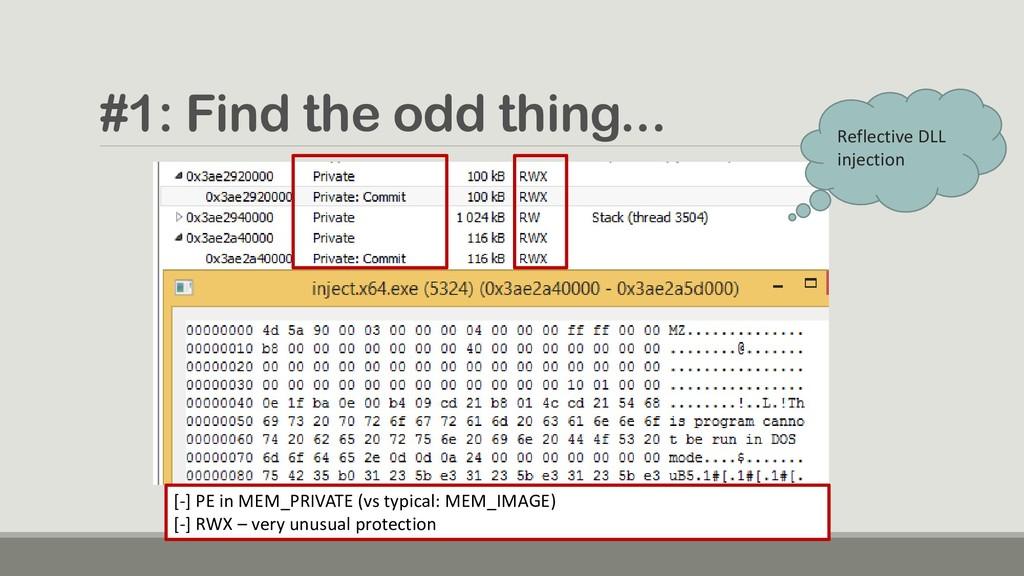 #1: Find the odd thing... [-] PE in MEM_PRIVATE...