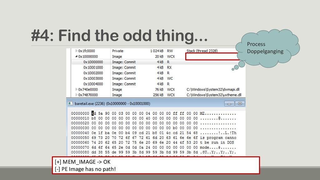 #4: Find the odd thing... [+] MEM_IMAGE -> OK [...