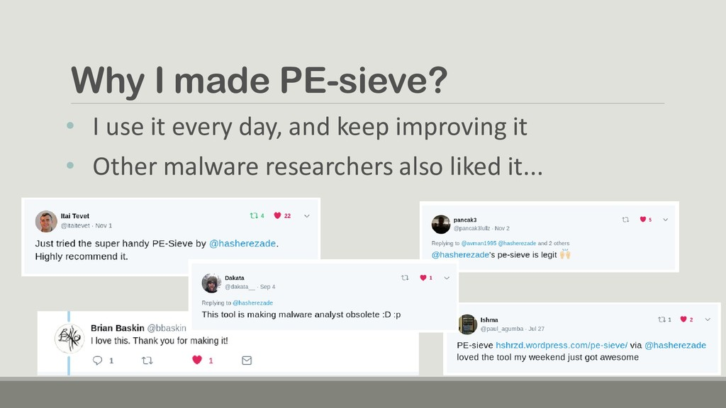 Why I made PE-sieve? • I use it every day, and ...