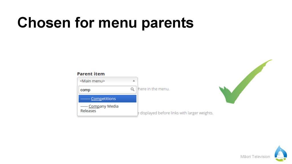 Māori Television Chosen for menu parents