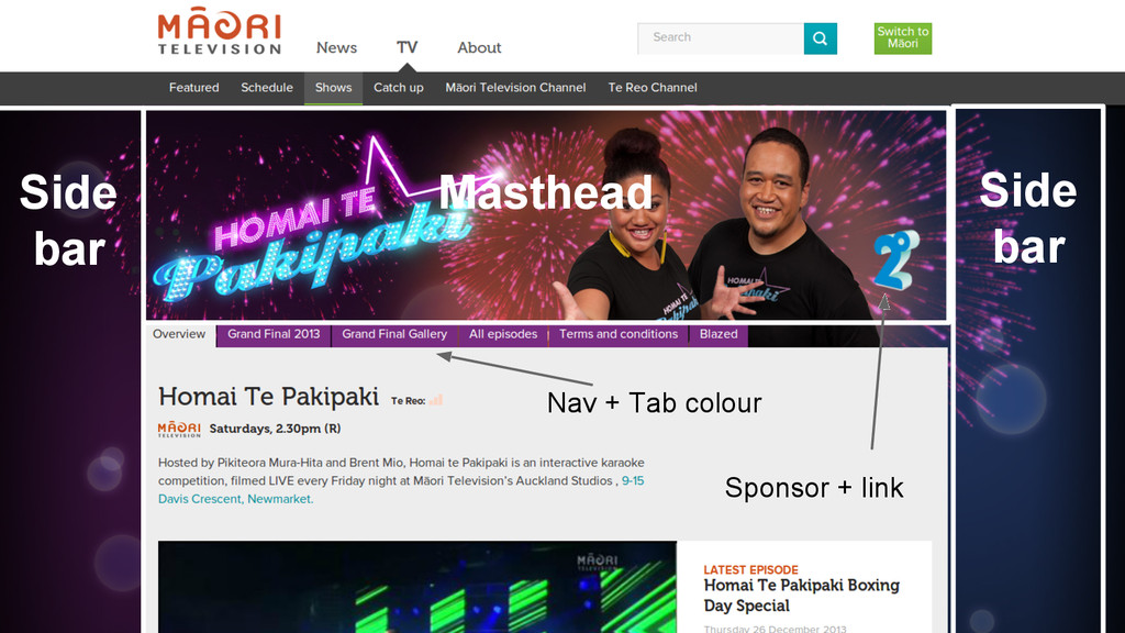 Māori Television Masthead Side bar Side bar Nav...