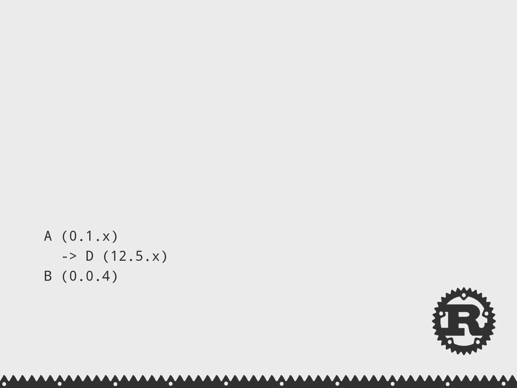 A (0.1.x) -> D (12.5.x) B (0.0.4)