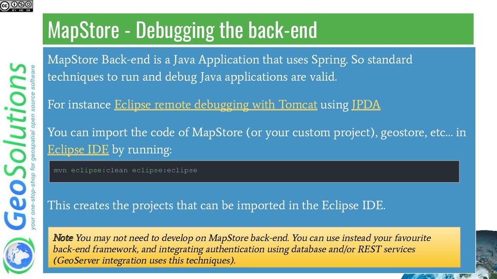 MapStore - Debugging the back-end MapStore Back...