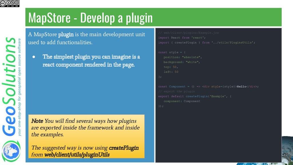 MapStore - Develop a plugin A MapStore plugin i...