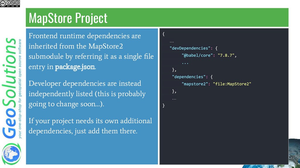 MapStore Project Frontend runtime dependencies ...