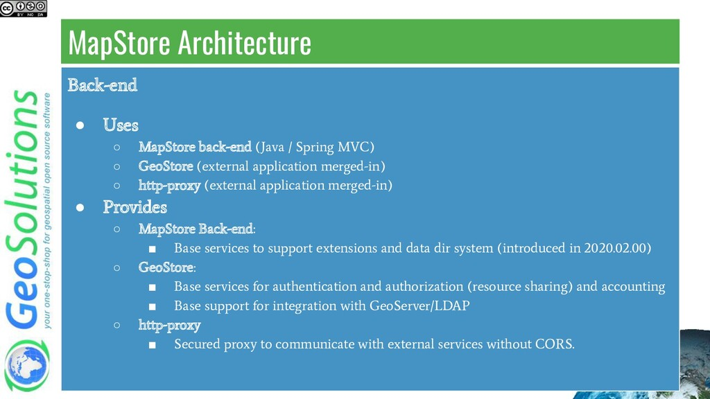 MapStore Architecture Back-end ● Uses ○ MapStor...
