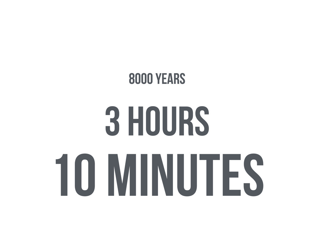 10 minutes 3 hours 8000 years