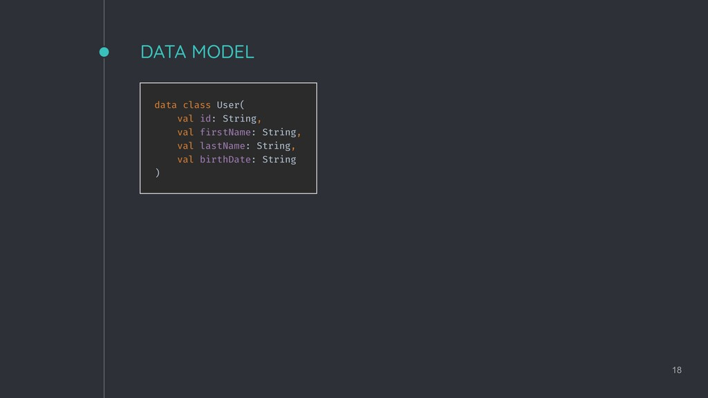 DATA MODEL 18 data class User( val id: String, ...