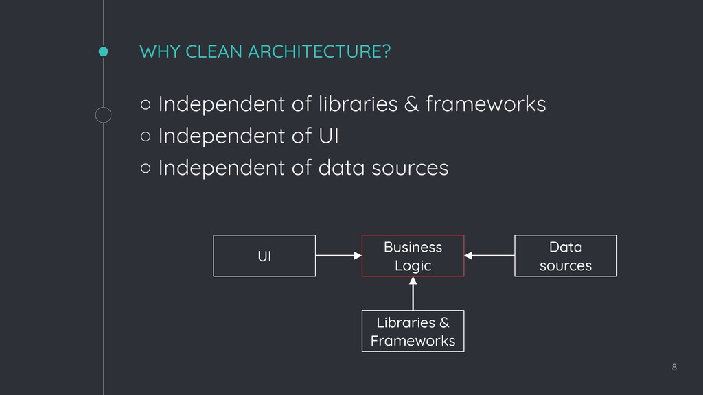 WHY CLEAN ARCHITECTURE? ◦ Independent of librar...
