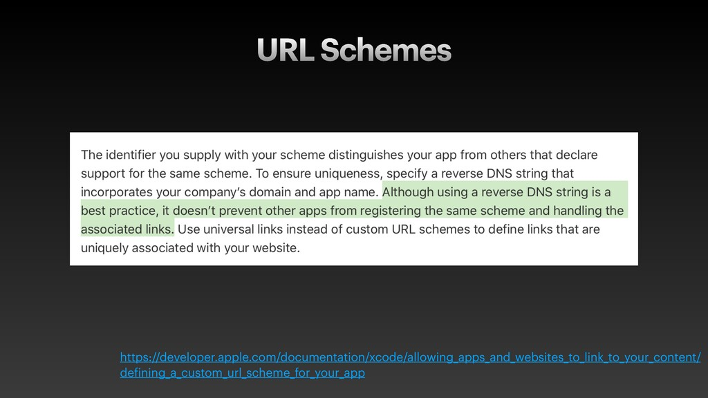 URL Schemes https://developer.apple.com/documen...