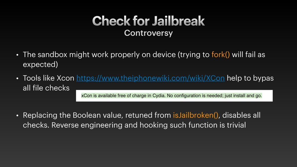 Check for Jailbreak Controversy • The sandbox m...