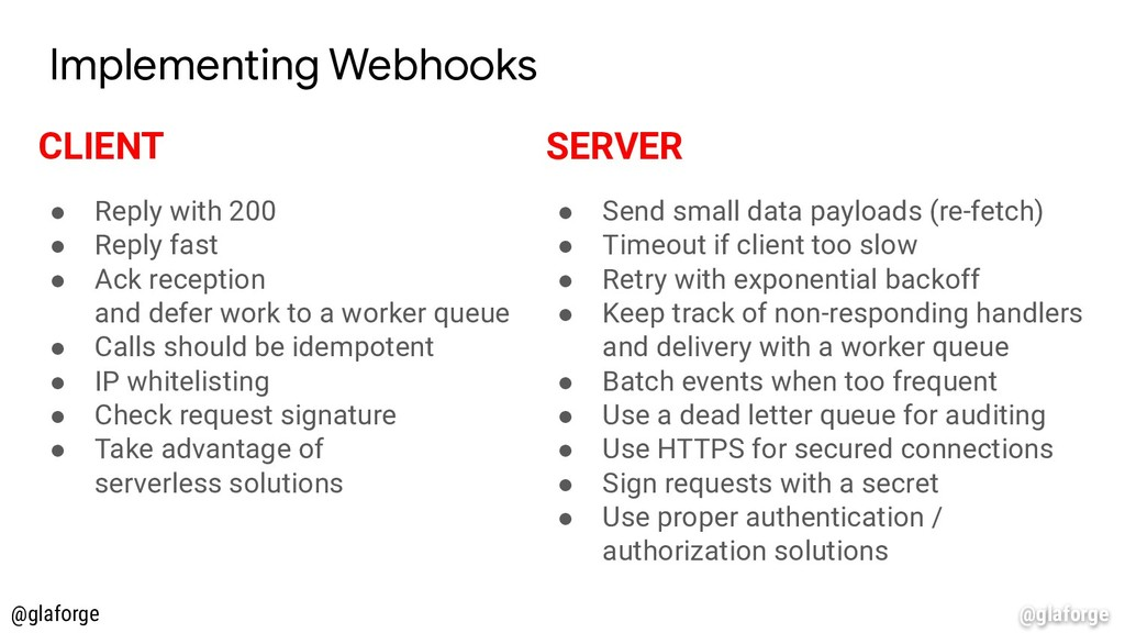 @glaforge Implementing Webhooks CLIENT ● Reply ...