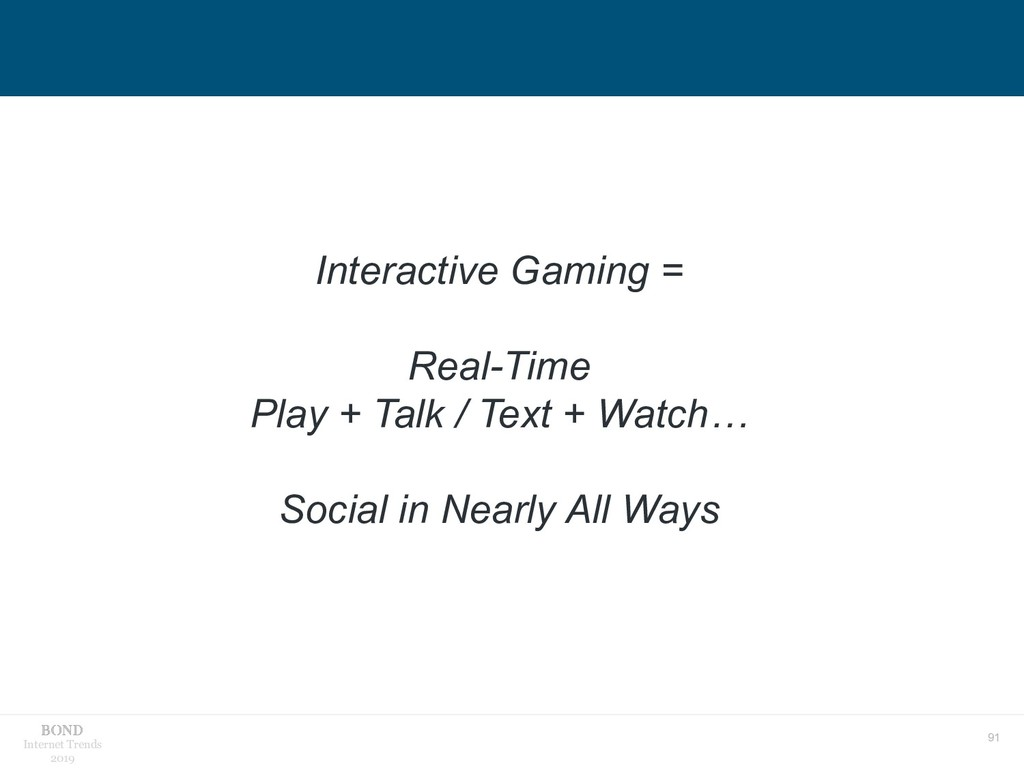 91 Internet Trends 2019 Interactive Gaming = Re...