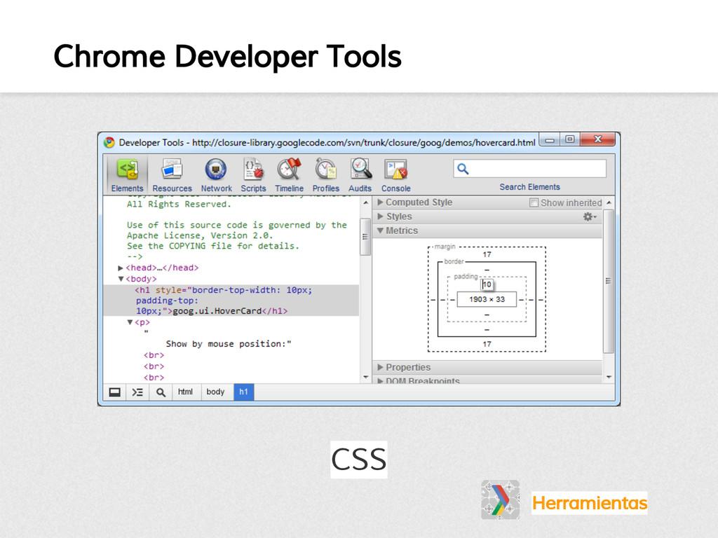 Chrome Developer Tools Herramientas CSS