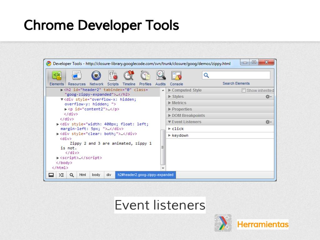 Chrome Developer Tools Herramientas Event liste...