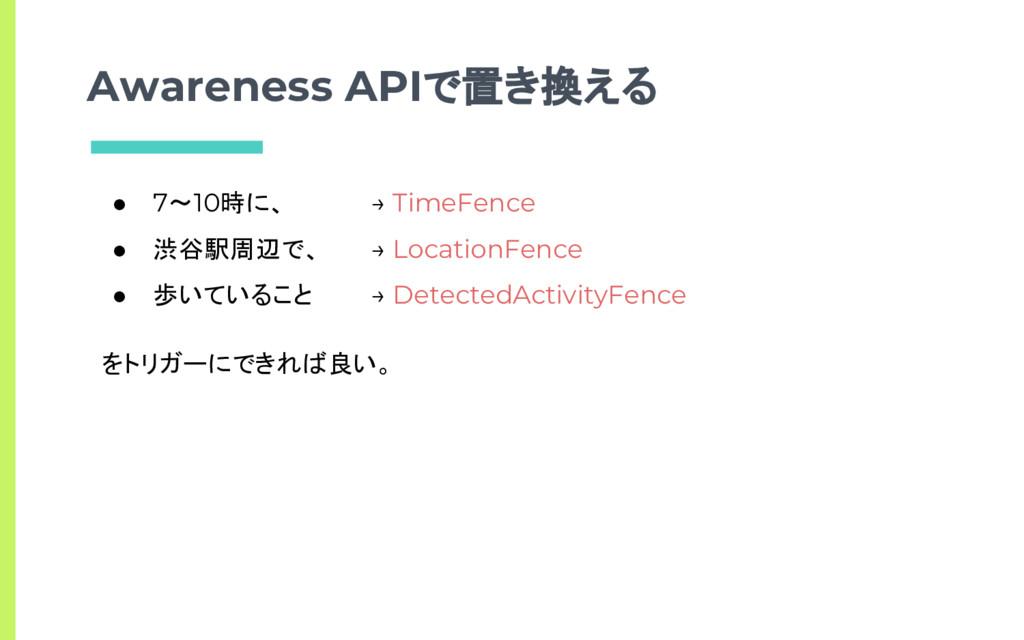 Awareness APIで置き換える ● 7〜10時に、 ● 渋谷駅周辺で、 ● 歩いている...