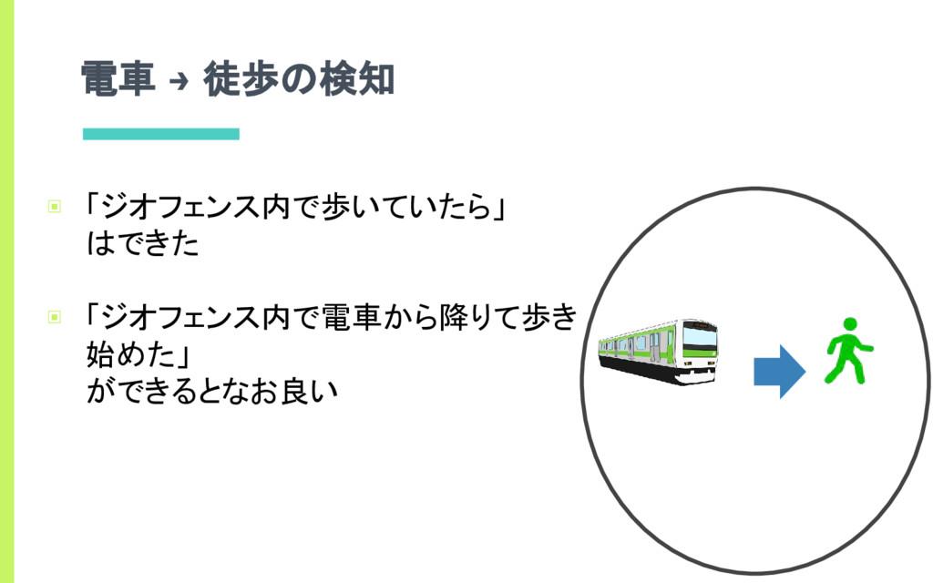 電車 → 徒歩の検知 ▣ 「ジオフェンス内で歩いていたら」 はできた ▣ 「ジオフェンス内で電...