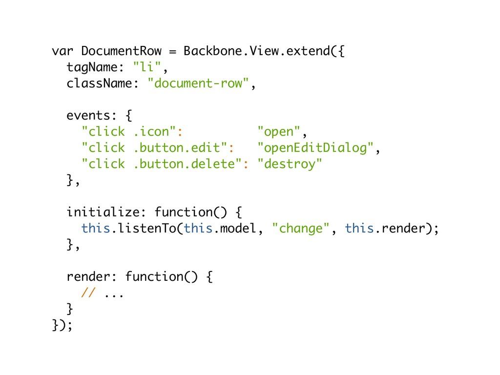 var DocumentRow = Backbone.View.extend({ tagNam...