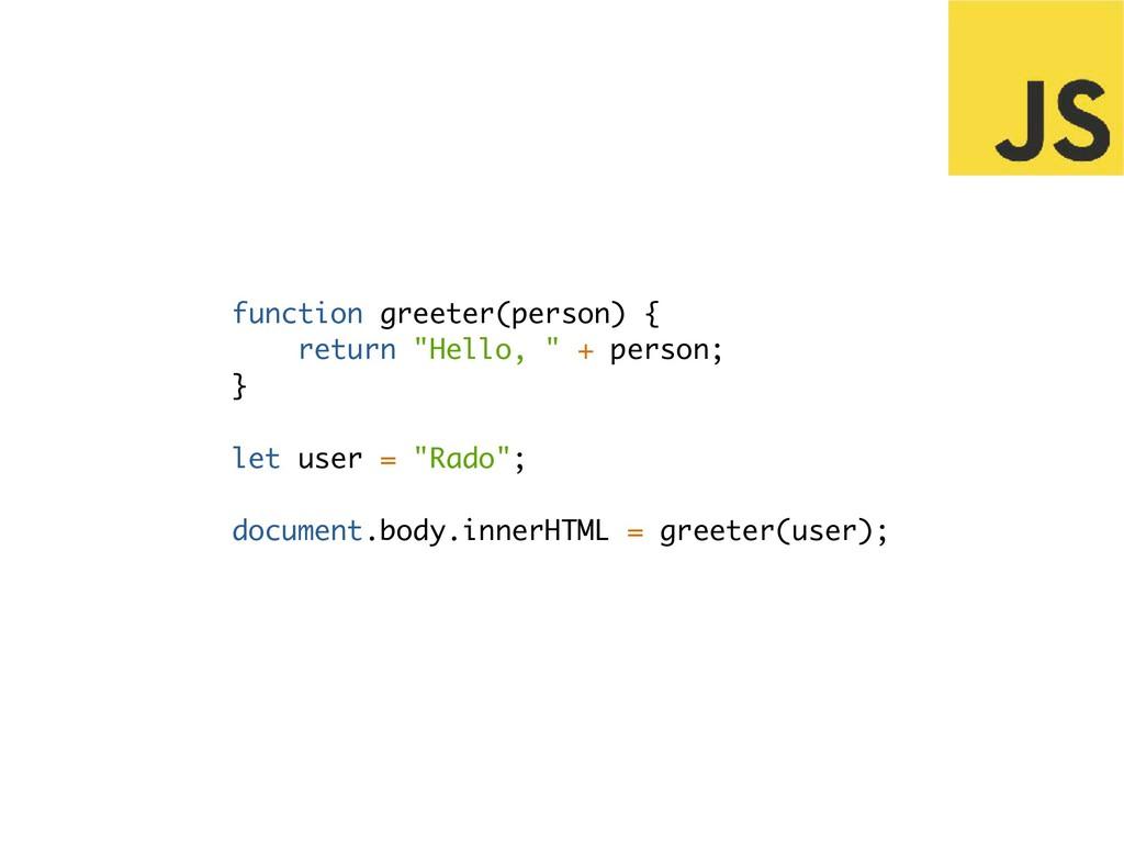 "function greeter(person) { return ""Hello, "" + p..."