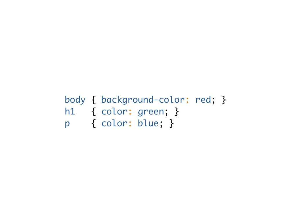 body { background-color: red; } h1 { color: gre...