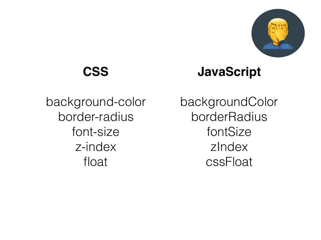 CSS background-color border-radius font-size z-...