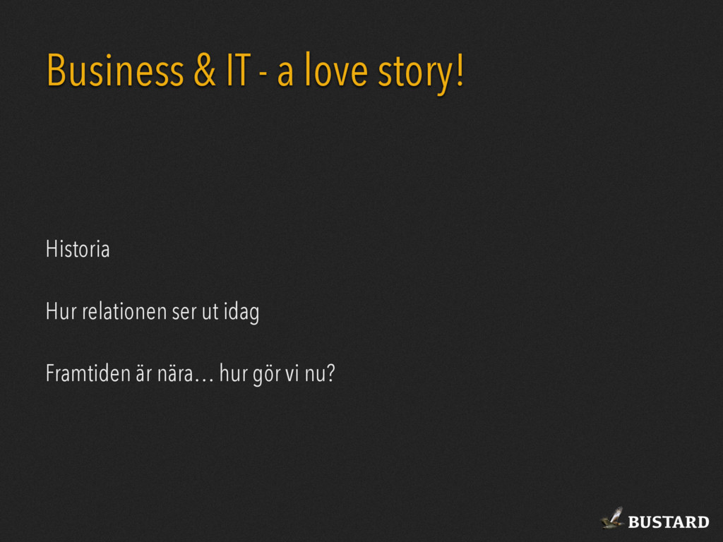 BUSTARD Business & IT - a love story! Historia ...