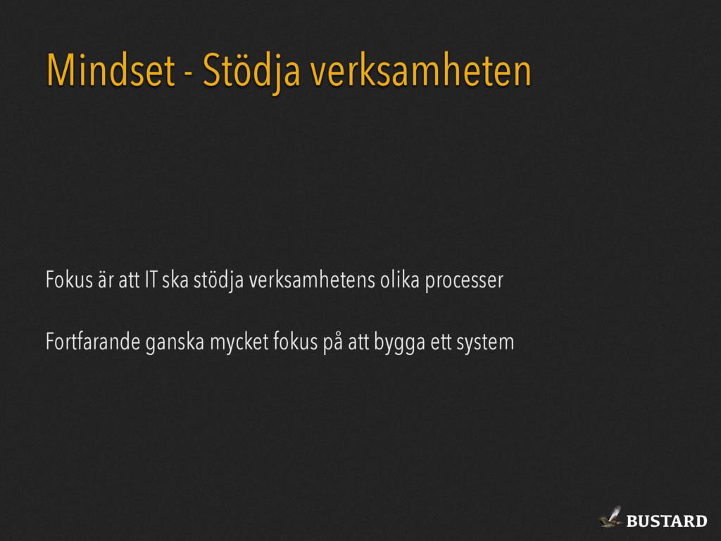 BUSTARD Mindset - Stödja verksamheten Fokus är ...