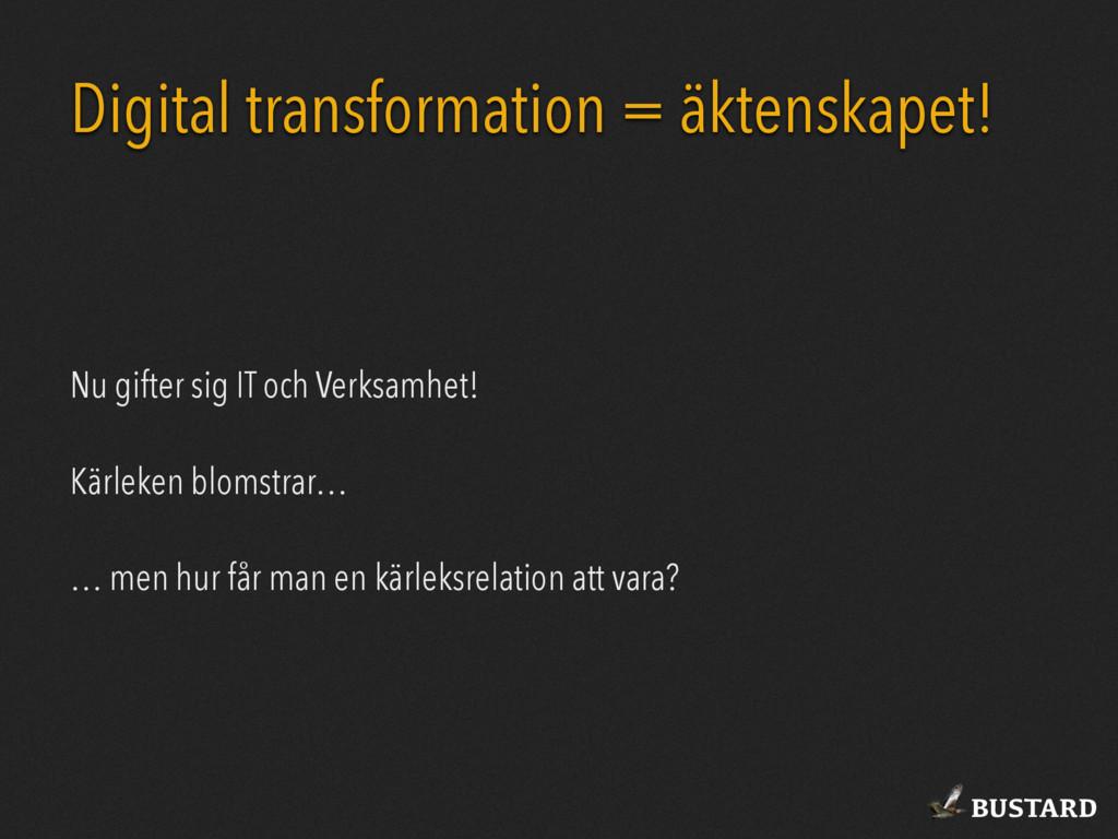 BUSTARD Digital transformation = äktenskapet! N...