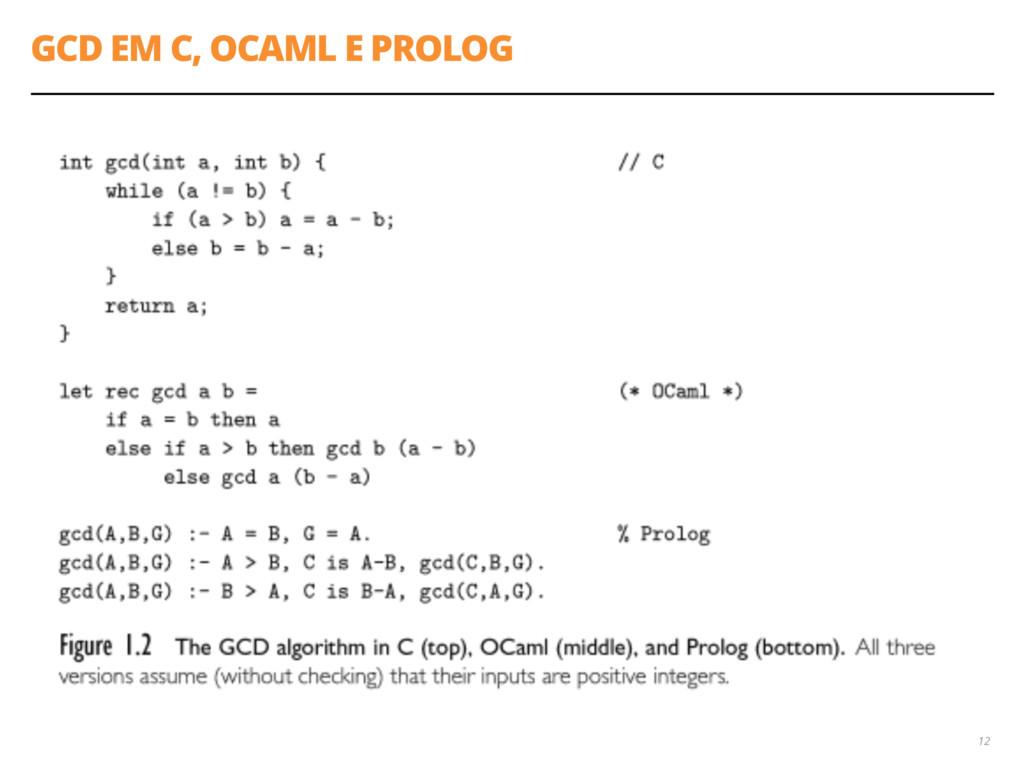 GCD EM C, OCAML E PROLOG 12