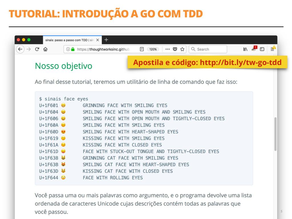 TUTORIAL: INTRODUÇÃO A GO COM TDD 5 Apostila e ...