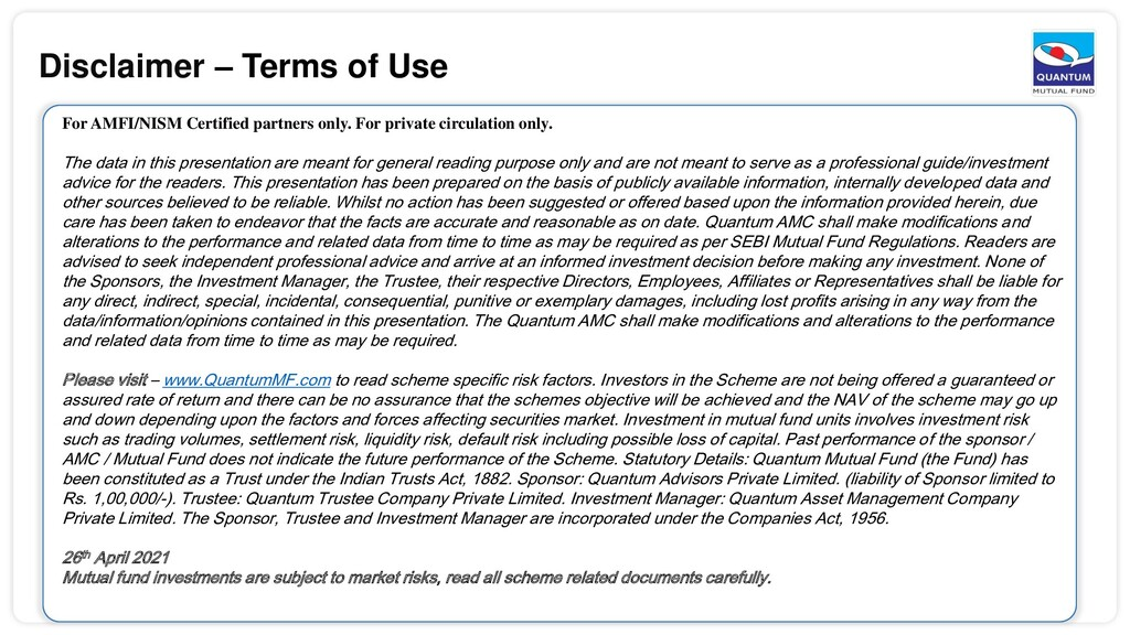 Disclaimer – Terms of Use For AMFI/NISM Certifi...
