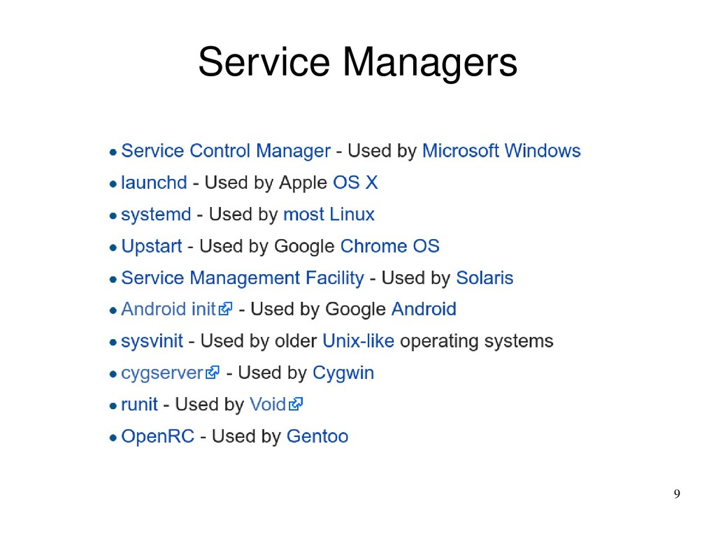 9 Service Managers