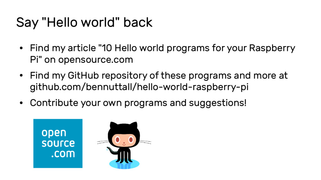 "Say ""Hello world"" back ● Find my article ""10 He..."