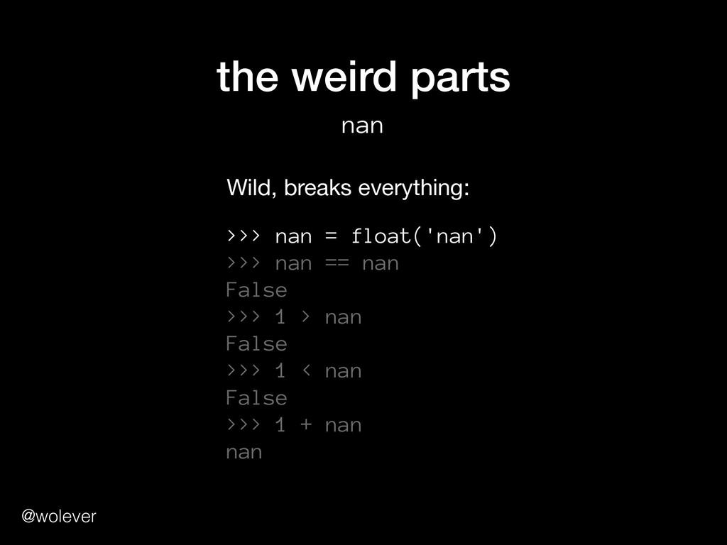 @wolever the weird parts nan >>> nan = float('n...